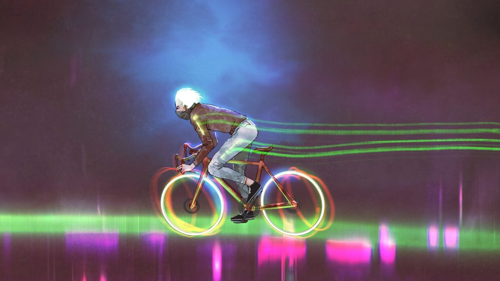 Drawing of man on fast bike with wheel lights